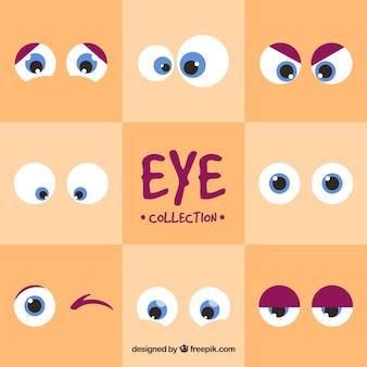 Zestaw okrągłych oczach kreskówek