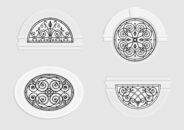 Zestaw okrągłych okien z kutego