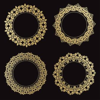 Zestaw okrągłych ozdobnych ramek na czarnym tle