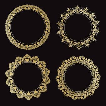 Zestaw okrągłych ozdobnych ramek. vintage złote ramki.