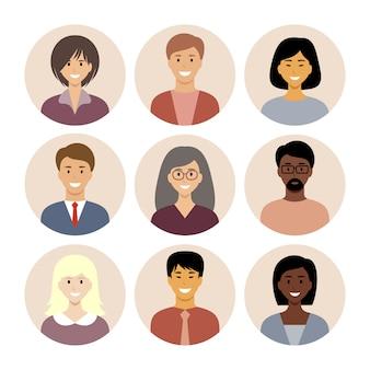 Zestaw okrągłych płaskich ikon z ludźmi. różne narodowości.