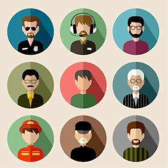 Zestaw okrągłych płaskich ikon z mężczyznami.