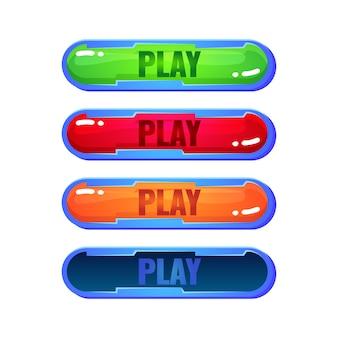 Zestaw okrągłych przycisków odtwarzania galaretki w różnych kolorach dla elementów zasobów interfejsu gry