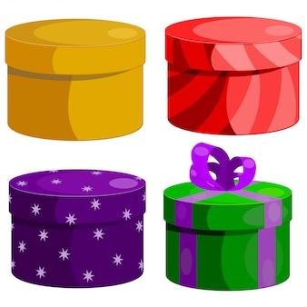 Zestaw okrągłych pudełek prezentowych