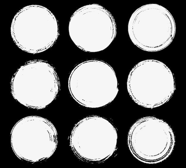 Zestaw okrągłych ramek grunge