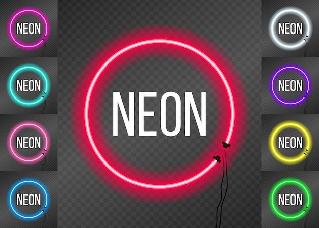 Zestaw okrągłych ramek neonowych
