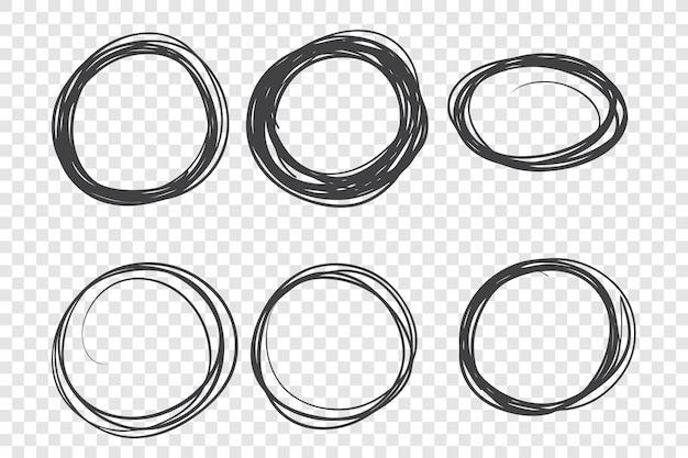 Zestaw okrągłych ręcznie rysowane ramki