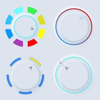 Zestaw okrągłych świateł neumorph ui. paleta kolorów w skeuomorphic