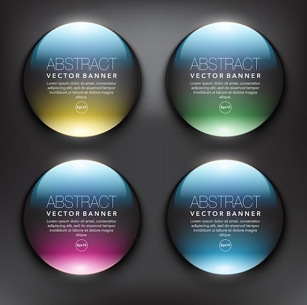 Zestaw okrągłych szklanych banerów internetowych 4. izolowane