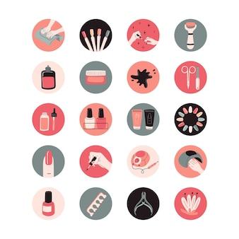 Zestaw okrągłych wyróżnień do mediów społecznościowych zestaw narzędzi do manicure profesjonalne studio urody