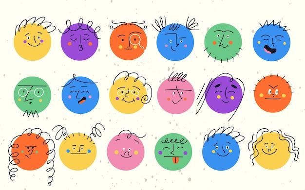 Zestaw okrągłych zabawnych postaci z różnymi emocjami twarzy. ilustracja kolorowy nowoczesny wektor z kształtów szczęśliwy smutny zły buźki dla dzieci.