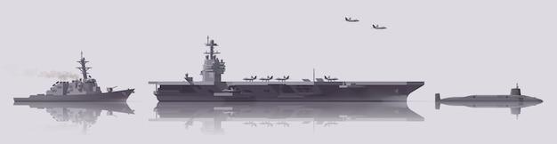 Zestaw okrętów wojennych. lotniskowiec, niszczyciel, łódź podwodna. kolekcja