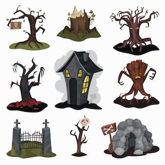 Zestaw okropnych elementów krajobrazu. straszny dom, stare suche drzewa, kamienna jaskinia, stara żelazna brama wjazdowa. motyw halloween