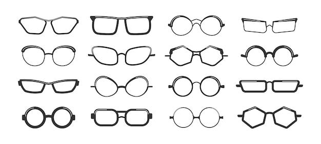 Zestaw okularów na białym tle ilustracji