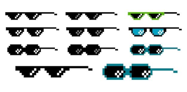 Zestaw okularów pikseli w płaskim stylu wektor eps