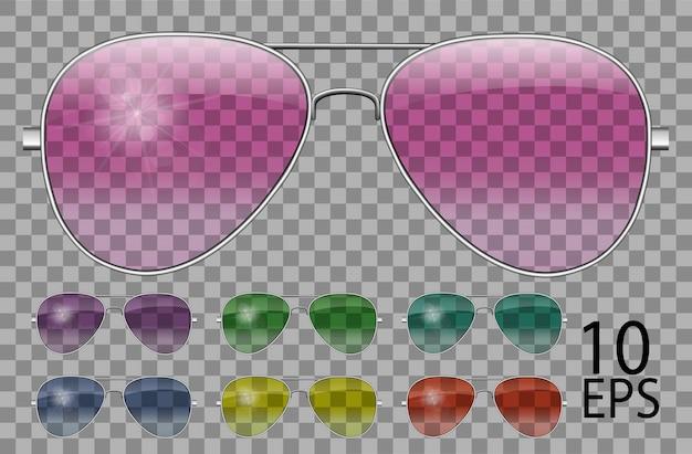 Zestaw okularów.policja spada kształt lotnika.przezroczysty inny kolor.okulary przeciwsłoneczne.grafika 3d.różowy niebieski fioletowy żółty czerwony zielony.unisex kobiety mężczyźni