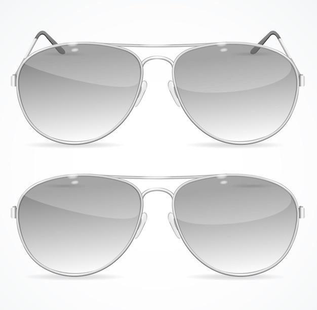 Zestaw okularów przeciwsłonecznych aviator, klasyczny czarny kolor.