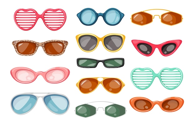Zestaw okularów przeciwsłonecznych, letnie akcesoria do ochrony oczu przed promieniami słonecznymi, inny nowoczesny design, stylowe okulary dla dzieci, mężczyzn i kobiet na białym tle. ilustracja kreskówka wektor, ikony