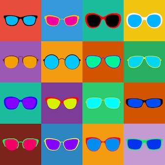 Zestaw okularów przeciwsłonecznych z różnymi oprawkami i okularami na kolorowych kwadratach. płaska konstrukcja