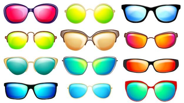 Zestaw okularów przeciwsłonecznych z różnymi oprawkami i okularami