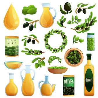 Zestaw oliwek, styl kreskówkowy