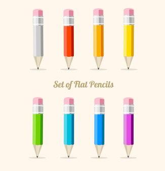 Zestaw ołówków tęczy na białym tle płaska konstrukcja