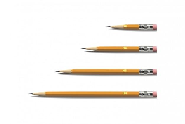 Zestaw ołówków widok z góry. ilustracja.