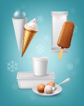 Zestaw opakowań do różnych rodzajów lodów na białym tle