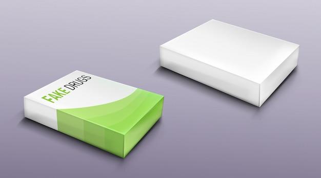 Zestaw opakowań fałszywych leków, puste pudełko kartonowe