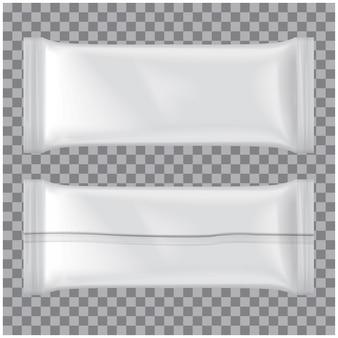 Zestaw opakowań lodów, białe puste plastikowe etui na przekąski