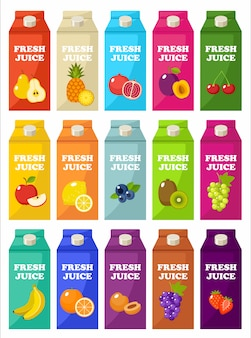 Zestaw opakowań soku owocowego