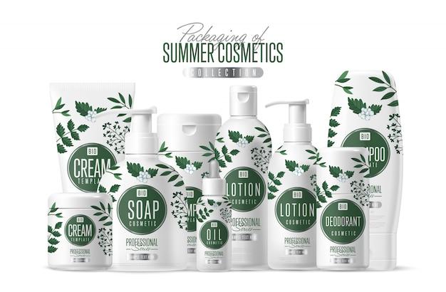 Zestaw opakowań szablon ekologicznych kosmetyków marki