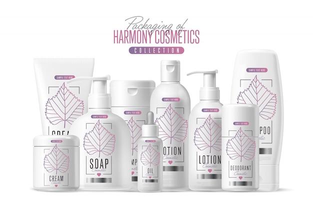 Zestaw opakowań szablon kosmetyków marki harmony