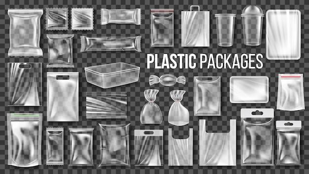 Zestaw opakowań z przezroczystego plastiku