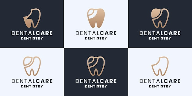 Zestaw opieki stomatologicznej, stomatologii, kolekcji logo kliniki dentystycznej w złotym kolorze