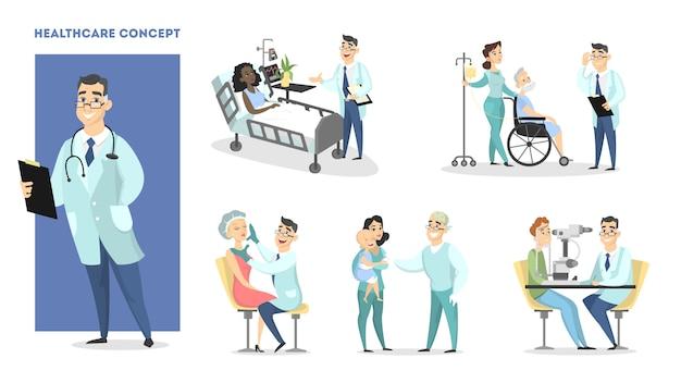 Zestaw opieki zdrowotnej. mężczyzna lekarz z pacjentami.