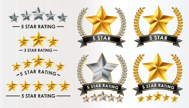 Zestaw opinii klientów 5 gwiazdek na białym tle wektor eps
