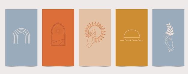 Zestaw opowiadań na instagramie z różnymi rysunkami: słońce, tęcza, roślina