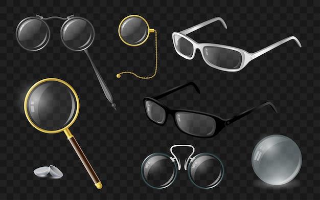 Zestaw optyki - nowoczesny wektor realistyczne na białym tle clipart na przezroczystym tle. stylowe okulary, okulary, soczewki, monokl, lornetka, lupa, binokle