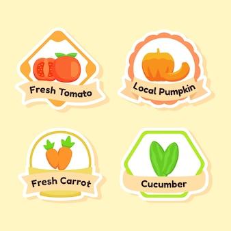 Zestaw organicznych ikon świeżych warzyw