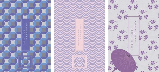 Zestaw orientalny japoński abstrakcyjny wzór
