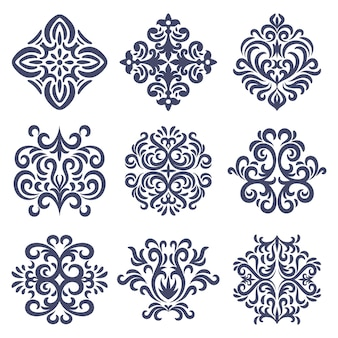 Zestaw orientalnych wzorów adamaszku, zestaw emblematów adamaszku, stary styl damasceński