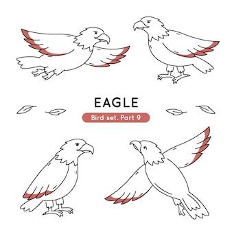 Zestaw orłów doodle w różnych pozach na białym tle