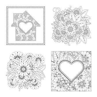Zestaw ornament kwiat mehndi w etnicznym stylu orientalnym kolorowanki książki