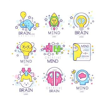 Zestaw oryginalnych logo energii umysłu, elementy tworzenia i pomysłu kolorowe ilustracje