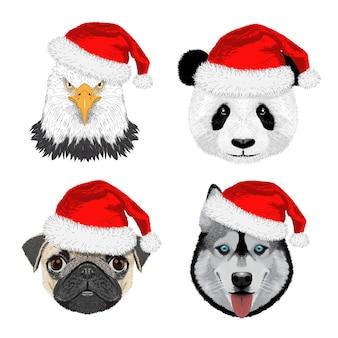 Zestaw orzeł, panda, mops, pies husky z czapką bożonarodzeniową