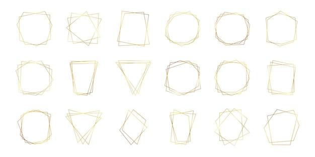Zestaw osiemnastu złotych geometrycznych wielokątnych ramek z efektami lśniącymi na białym tle. puste świecące tło w stylu art deco. ilustracja wektorowa.