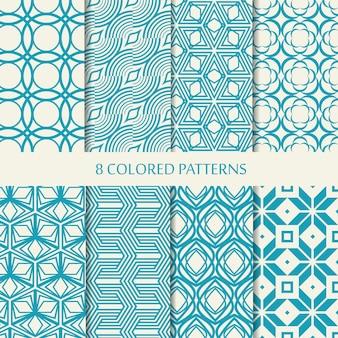 Zestaw ośmiu bezszwowych wzorów jodełek w kolorach niebieskim i białym z kolekcją różnych stylowych kształtów i powtarzających się elementów w jodełkę