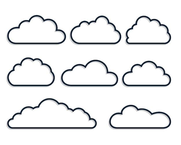 Zestaw ośmiu chmur w stylu linii