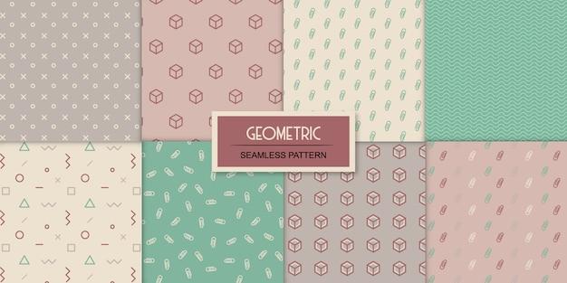 Zestaw ośmiu geometrycznych bez szwu przezroczystych wzorów